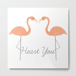 Flamingo Hearts Metal Print