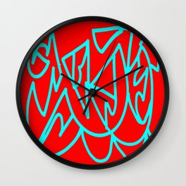 Red blue turquoise gar Wall Clock