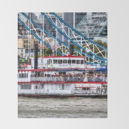 The Dixie Queen Paddle Steamer Throw Blanket