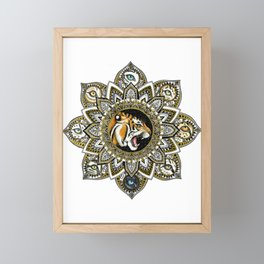Black and Gold Roaring Tiger Mandala With 8 Cat Eyes Framed Mini Art Print