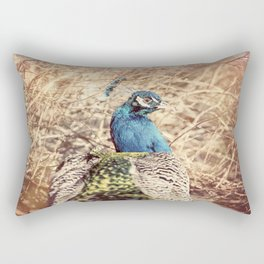 Peacock photography blue green brown photography branches immortality royalty Rectangular Pillow