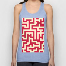 Cream Yellow and Crimson Red Labyrinth Unisex Tank Top