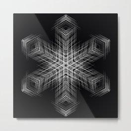 Modern minimal Fine lines art, Black white mandala Metal Print