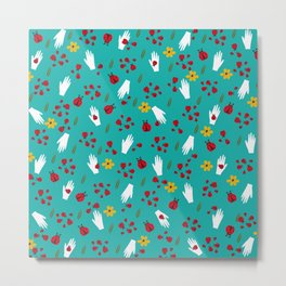 Ladybirds and hands pattern Metal Print