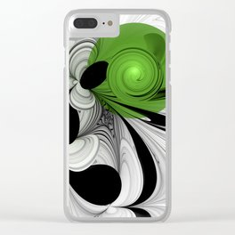 Abstract Black and White with Green Clear iPhone Case