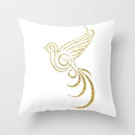 Golden Songbird Throw Pillow