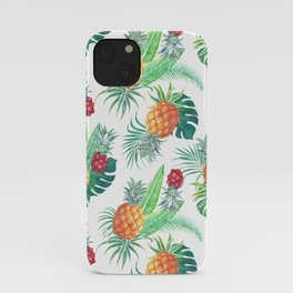 pineapple watercolor pattern iPhone Case