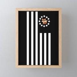 Fox Nerd - Flag Framed Mini Art Print