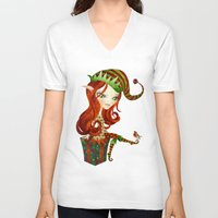 elf V-neck T-shirts featuring Elfie Elf by Sandra Vargas