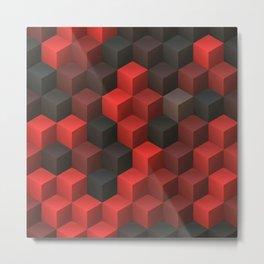 Artistic Cubes 07 red black Metal Print