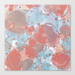 Round And Round Coral Blue Canvas Print