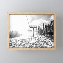 Powder on the Hill // Black and White Skilift Shot on a Deep Snowday Framed Mini Art Print