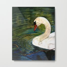 Swan Forming Ripples in a Golden Glow Metal Print
