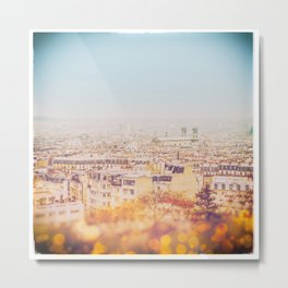 Roof of Paris from Montmartre  (Vintage1960's Polaroid style) Metal Print
