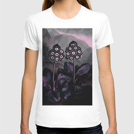 Dark Muted Pink Auriculas : Temple of Flora T-shirt