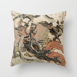 Hokusai, Aspara and the flute – musician manga, japan,hokusai,japanese,北斎,ミュージシャン Throw Pillow