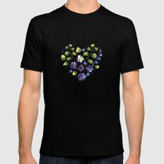 Watercolor decorative blue flowers heart Black MEDIUM Mens Fitted Tee