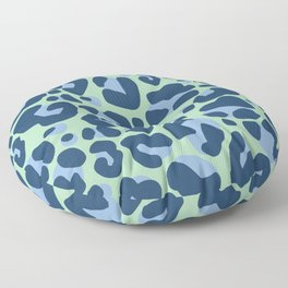 Leopard Print Navy and Green Pattern Floor Pillow