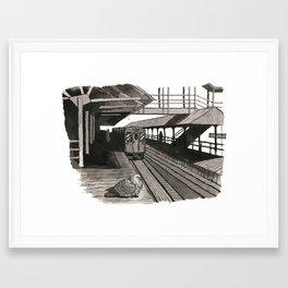 Pigeon at CTA Station Framed Art Print