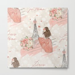 Oh La La Paris Girl Metal Print