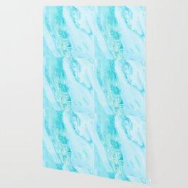 Shimmery Teal Ocean Blue Turquoise Marble Metallic Wallpaper