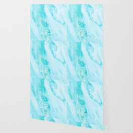 Shimmery Teal Ocean Blue Turquoise Marble Metallic Wallpaper