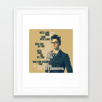 david tennant Framed Art Prints featuring He's Wonderful - David Tennant Doctor Who  by KanaHyde