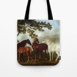 Classical Masterpiece Circa 1762 Mares and Foals in a River Landscape by George Stubbs Tote Bag