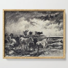Rosa Bonheur - A Cowherd Driving Cattle - Digital Remastered Edition Serving Tray