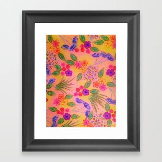 WILDFLOWER FANCY 2 - Cheerful Pink Lovely Floral Garden Pattern Girly Feminine Trendy Flowers Framed Art Print
