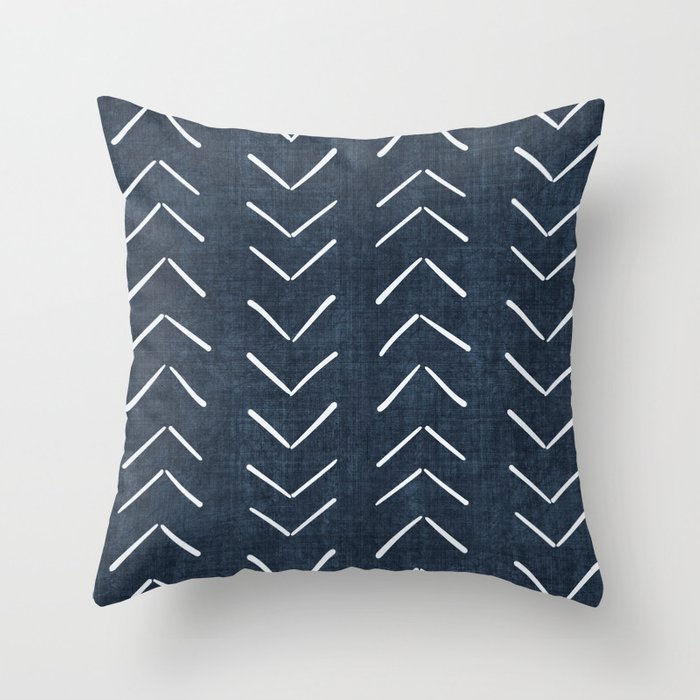 Mud Cloth Big Arrows in Navy Throw Pillow