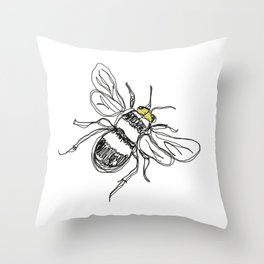 Contour drawing of a bee Throw Pillow