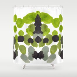 Rorschach Inkblot Diagram Psychology Abstract Symmetry Colorful Watercolor Art Green Black Shower Curtain