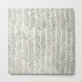 Herringbone Black on Cream Metal Print