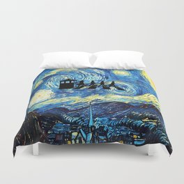 The Doctors Walking Of Starry Night Duvet Cover