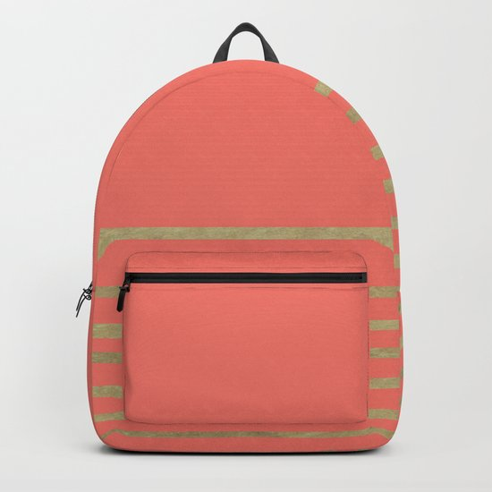 Peach and Gold Stripes Backpack