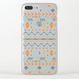 Southwestern Tribal Modern Geometric Stripes of Arrows Chevrons Diamonds Leaves Triangles Circles Clear iPhone Case