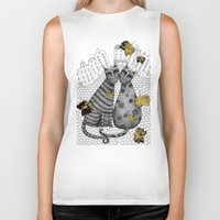 hats Biker Tanks featuring Two Cats Without Hats by Judith Clay