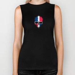 Flag of Dominican Republic on a Chaotic Splatter Skull Biker Tank