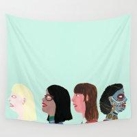 women Wall Tapestries featuring women by Alejandra Hernandez