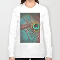 peacock feather Long Sleeve T-shirts featuring Peacock Feather by Laura Mazurek
