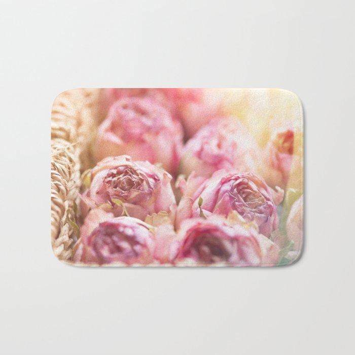 Pink Roses in a basket - Rose flowers floral Bath Mat