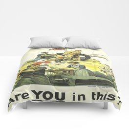Vintage poster - Are YOU in this? Comforters