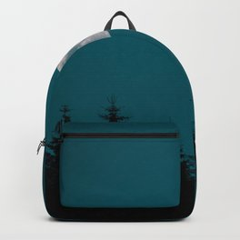 Gibbous Moon Over Pine Tree Silhouette Blue Sky Nature At Night Backpack