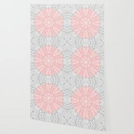 MANDALA IN GREY AND PINK Wallpaper