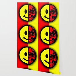 Smiley Face Skull Yellow Red Shadow Wallpaper