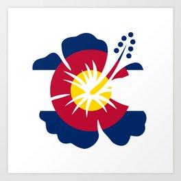 Colorado Hibiscus Flag Art Print