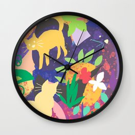 Cats and Plants with Abstract Background Wall Clock