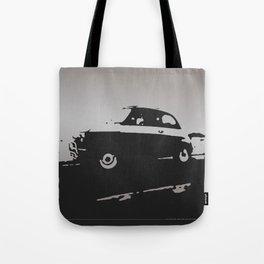 Fiat 500 classic, Gray on Black Tote Bag