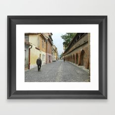 Old Walls, Old Man Walking Framed Art Print